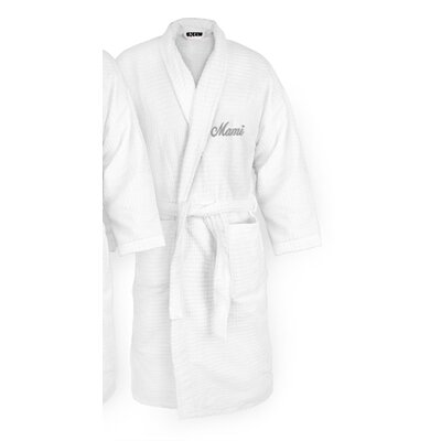 Mami Embroidered Sugarcube Bathrobe Color: Silver