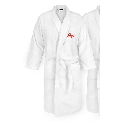 Papi Embroidered Sugarcube Bathrobe Color: Red