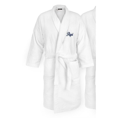 Papi Embroidered Sugarcube Bathrobe Color: Navy