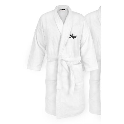 Papi Embroidered Sugarcube Bathrobe Color: Black