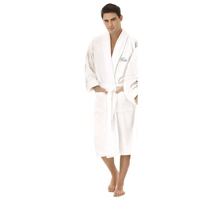 His Embroidered Shawl Collar Bathrobe Color: Silver