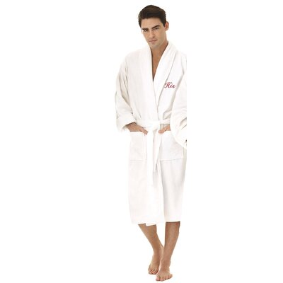 His Embroidered Shawl Collar Bathrobe Color: Red