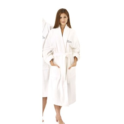 Hers Embroidered Shawl Collar Bathrobe Color: Silver