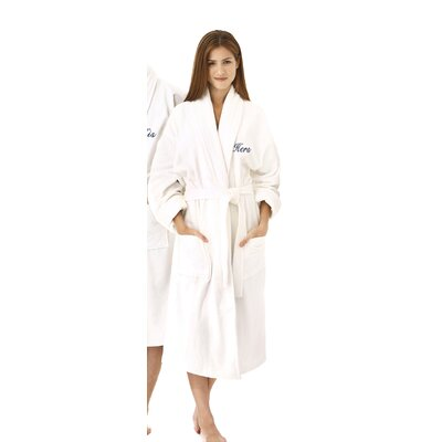 Hers Embroidered Shawl Collar Bathrobe Color: Navy