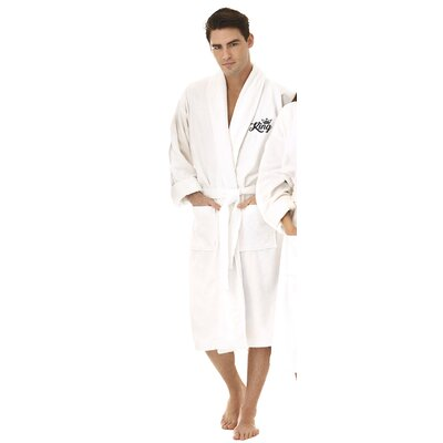 King Embroidered Shawl Collar Bathrobe Color: Black