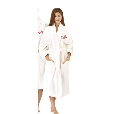 Queen Embroidered Shawl Collar Bathrobe Color: Red