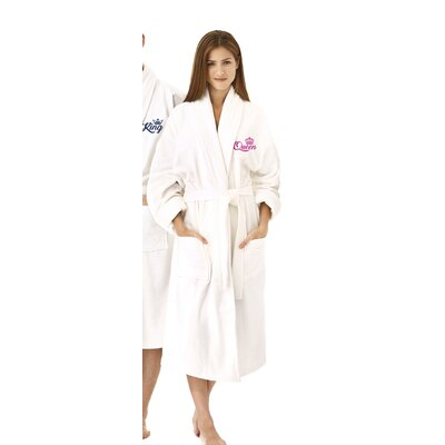 Queen Embroidered Shawl Collar Bathrobe Color: Fuchsia