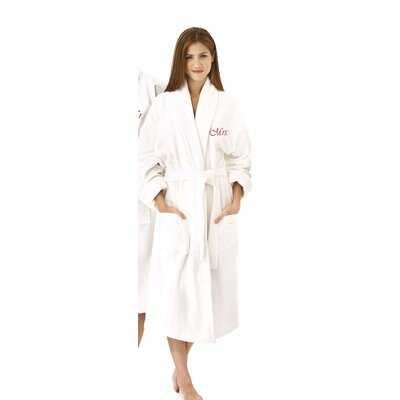 Mrs Embroidered Shawl Collar Bathrobe Color: Red