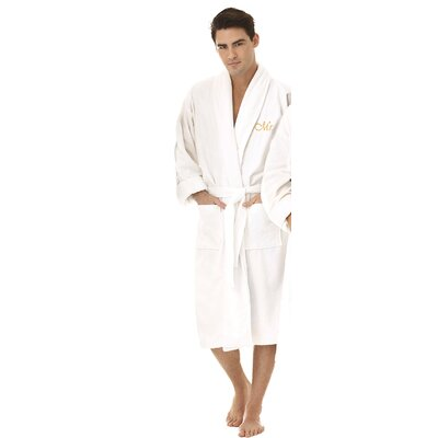 Mr Embroidered Shawl Collar Bathrobe Color: Gold