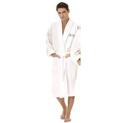 Hubby Embroidered Shawl Collar Bathrobe Color: Silver