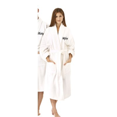 Wifey Embroidered Shawl Collar Bathrobe Color: Black