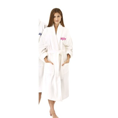 Wifey Embroidered Shawl Collar Bathrobe Color: Fuchsia
