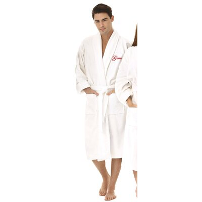 Groom Embroidered Shawl Collar Bathrobe Color: Red