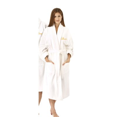 Bride Embroidered Shawl Collar Bathrobe Color: Gold