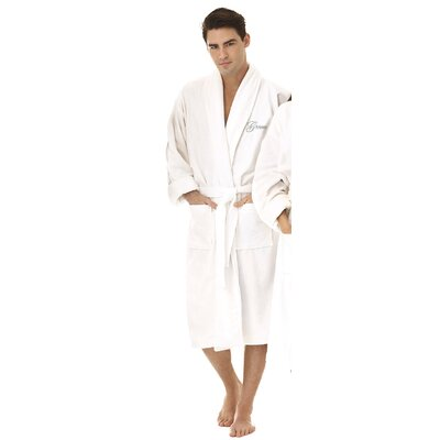 Groom Embroidered Shawl Collar Bathrobe Color: Silver