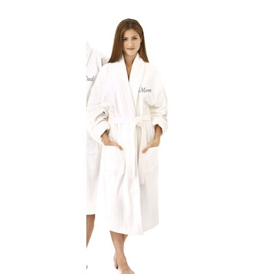 Mom Embroidered Shawl Collar Bathrobe Color: Silver