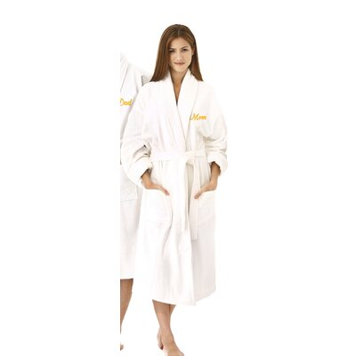 Mom Embroidered Shawl Collar Bathrobe Color: Gold