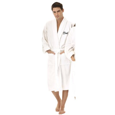 Dad Embroidered Shawl Collar Bathrobe Color: Black