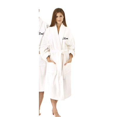 Mom Embroidered Shawl Collar Bathrobe Color: Black