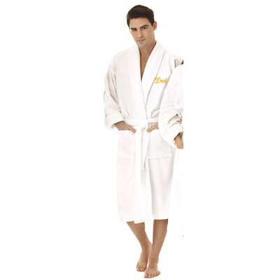 Dad Embroidered Shawl Collar Bathrobe Color: Gold
