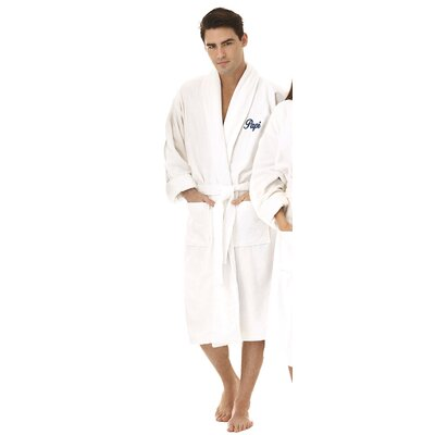 Papi Embroidered Shawl Collar Bathrobe Color: Navy