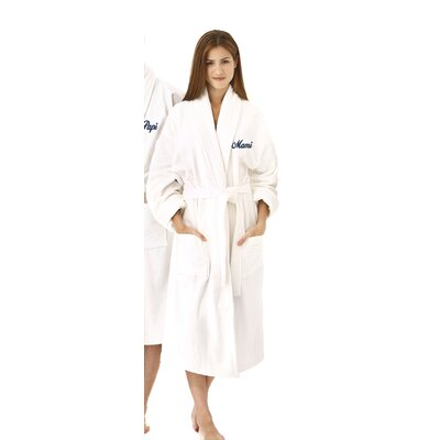 Mami Embroidered Shawl Collar Bathrobe Color: Navy