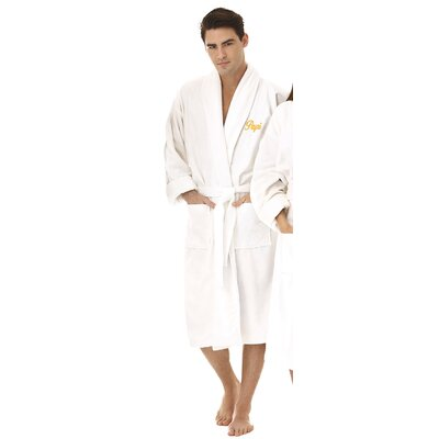 Papi Embroidered Shawl Collar Bathrobe Color: Gold
