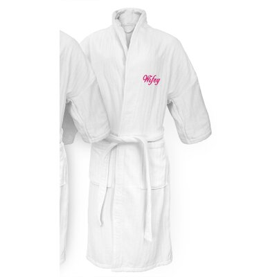 Wifey Embroidered Railroad Bathrobe Color: Fuchsia