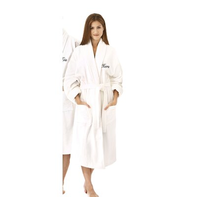 Hers Embroidered Shawl Collar Bathrobe Color: Black