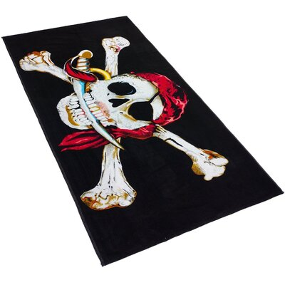 Skull and Bones Printed Beach Towel