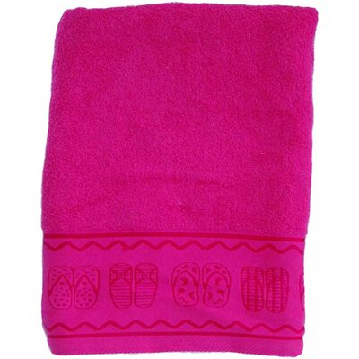 Double Jacquard Terry Beach Towel Color: Fuchsia with Sandal