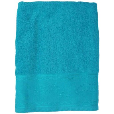 Double Jacquard Terry Beach Towel Color: Turquoise with Dolphin