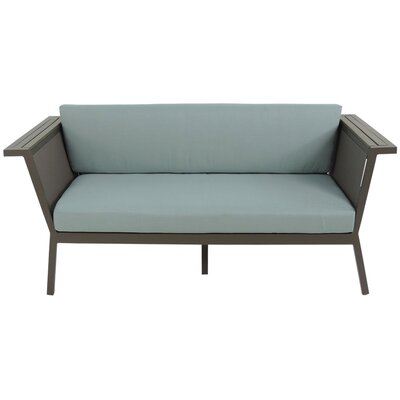 Marina Geo Loveseat with Cushions Fabric: Spa, Finish: Gray