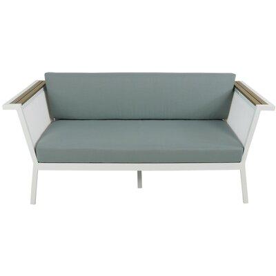 Marina Geo Loveseat with Cushions Fabric: Spa, Finish: White