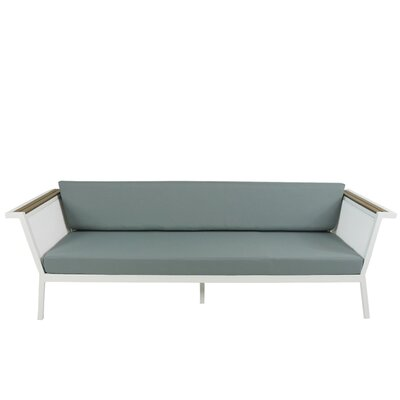 Marina Geo Sofa with Cushions Fabric: Spa, Finish: White