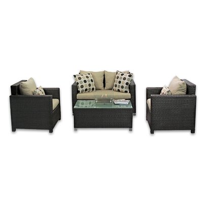 Skye Venice 4 Piece Lounge Seating Group with Cushions Fabric: Mushroom