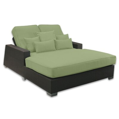 Signature Double Chaise Lounge with Cushion Fabric Color: Cilantro