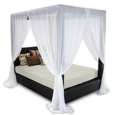 Signature Queen Canopy Bed with Cushions Fabric: Eggshell