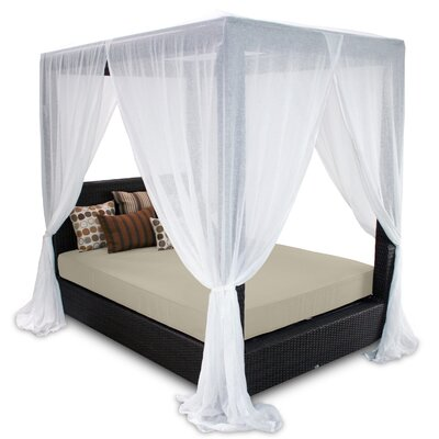 Signature Queen Canopy Bed with Cushions Fabric: Sand