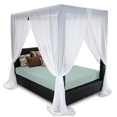 Signature Queen Canopy Bed with Cushions Fabric: Mist