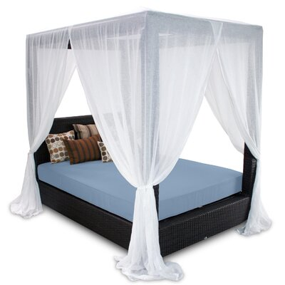 Signature Queen Canopy Bed with Cushions Fabric: Sailor