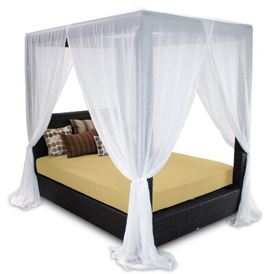 Signature Queen Canopy Bed with Cushions Fabric: Daffodil