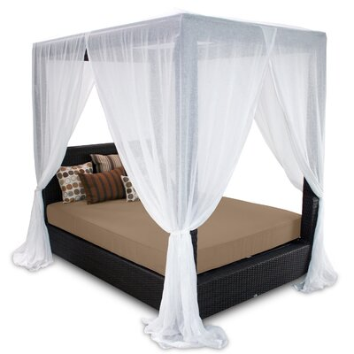 Signature Queen Canopy Bed with Cushions Fabric: Sierra