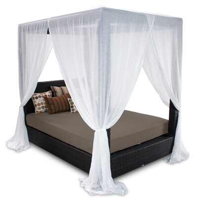 Signature Queen Canopy Bed with Cushions Fabric: Coffee