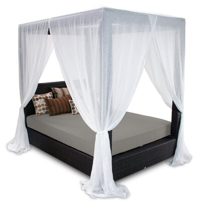 Signature Queen Canopy Bed with Cushions Fabric: Graphite