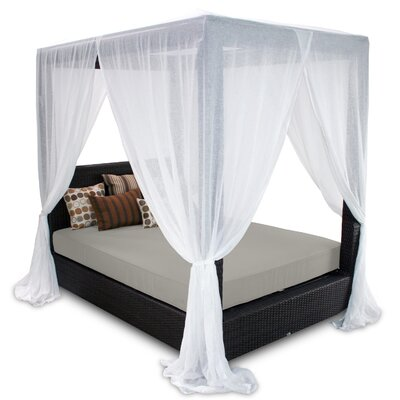 Signature Queen Canopy Bed with Cushions Fabric: Dove