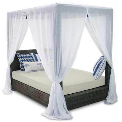 Palisades Queen Canopy Bed with Cushions Fabric: Eggshell