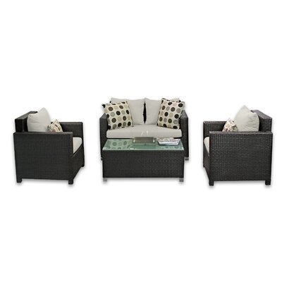 Skye Venice 4 Piece Lounge Seating Group with Cushions Fabric: Eggshell