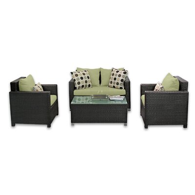 Skye Venice 4 Piece Lounge Seating Group with Cushions Fabric: Kiwi
