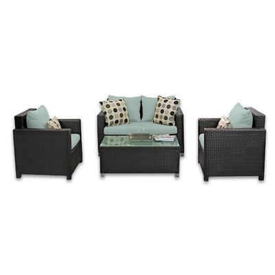 Skye Venice 4 Piece Lounge Seating Group with Cushions Fabric: Mist